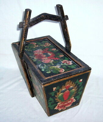 vintage Chinese PICNIC WEDDING WOODEN Primitive BASKET w/ painted flowers
