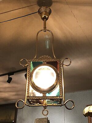 """Antique Victorian Fancy Brass Hall Light Beveled/Stained Glass 36"""" X 15"""" X 10"""