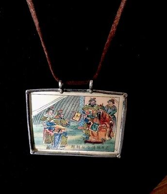 Silver 925 Picture Frame Necklace Chinese Asian Scene inside Vintage Handmade