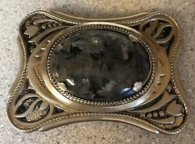 Western Style Belt Buckle With Black Grey & Blue Stone