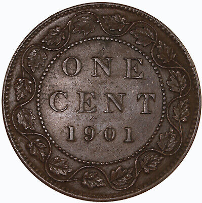 Raw 1901 Canada 1C Uncertified Ungraded Canadian Large Cent Coin