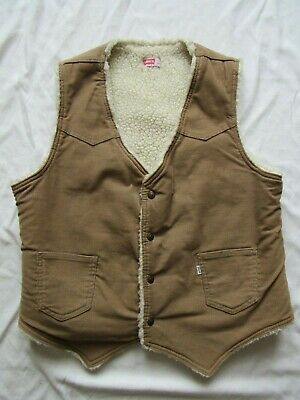 Vtg 70s Levi's Sherpa Lined Corduroy Vest Sz Large Mint Shape Small e USA Made