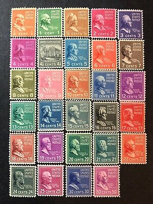 Scott# 803-831 1938 Prexie Short Set MNH (823 MLH) Nice Bright