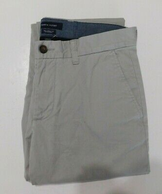 Tommy Hilfiger Tailored Fit Chino Pants Mens Beige Stretch 4 Pocket  32x32 NEW