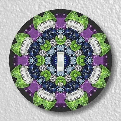 Sapphire Kaleidoscope Round Light Switch and Outlet Plate Covers