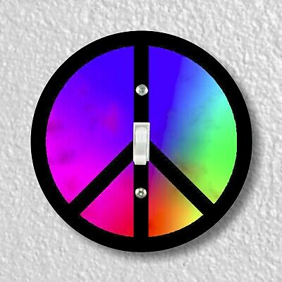 Peace Symbol Round Light Switch and Outlet Plate Covers