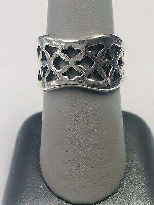 retired james avery sterling silver Open Cut Tulip Wavi Band Ring Size 8