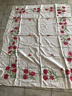 Vintage Linen Cloth,Carnations?? Beautiful.