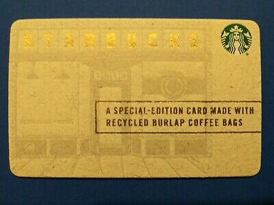 """Starbucks gift card 2015 """" BURLAP RECYCLED CARD"""" NO VALUE~NEW~ HTF"""