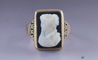 Elegant Antique Victorian 14k Gold Onyx Cameo Young Woman Ring 19th Century