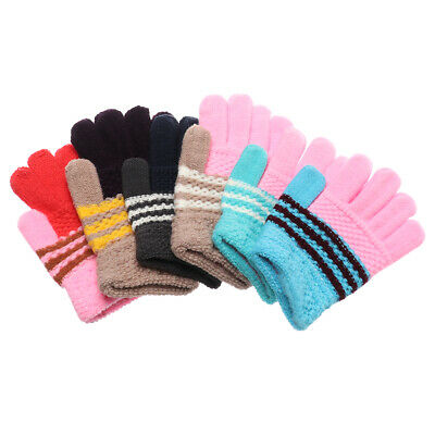 Soft Warm Star Cartoon Whole Covered Knitting Mittens Candy Color Kids Gloves