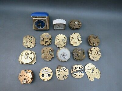 Job lot of small vintage clock movements clocks & parts - parts spares steampunk