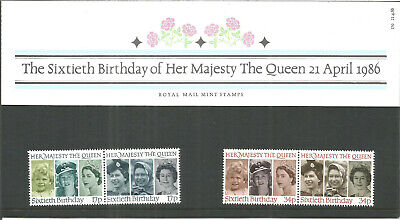 The Queens 60th Birthday Apr 1986 Royal Mail Mint Stamps Presentation Pack U2846