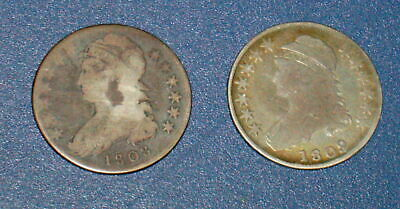 Two 1808 and 1809 Silver BUST HALF DOLLAR Dollars 50c