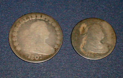 Two 1807 Draped BUST QUARTER 25c and 1807 Silver BUST HALF DOLLAR 50c coins