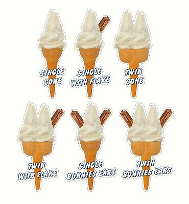 Whippy Ice Cream Cone Stickers Set of 6 - 16cm high catering van die cut decals