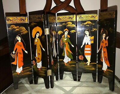 VINTAGE CHINESE BLACK LACQUERED 6 PANELS MINIATURE SCREEN Woman  L@@K