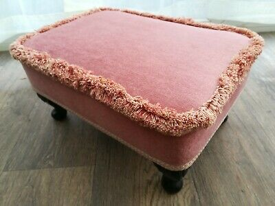 Vintage Sherborne  Footstool Stool Pink Draylon Fabric Queen Anne Legs  Delivery