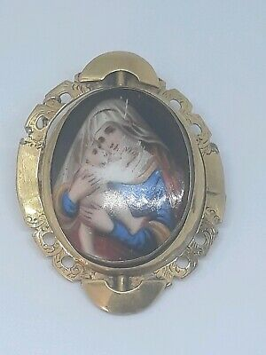 Antique Victorian Hand Painted Porcelain Brooch Gilt Metal Pinchbeck Mount c1880