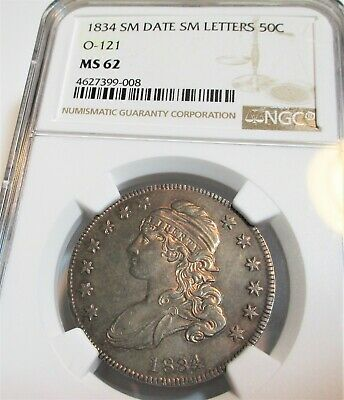 1834 Capped Bust Half Dollar 50C Ngc Ms 62 Rare High Grade Us Coin.