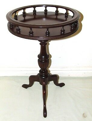 Antique Style Mahogany Wine / Occasional Table / Lamp Stand with Gallery Top