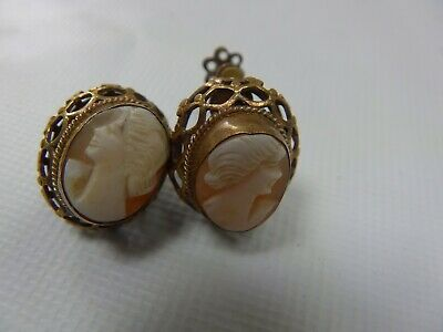 Lovely Vintage Ornate Victorian Style Cameos Clip-on Earrings Beautiful