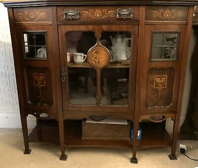 Shapland and Petter Style Inlaid Mahogany Art Nouveau Cabinet