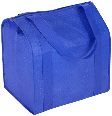 Reusable Insulated Cold/Hot Shopping Grocery Food Bag Large capacity Zipper Blue