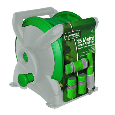 15M Garden Hose Pipe Reel High Quality Compact Set With Fitting Outdoor Watering