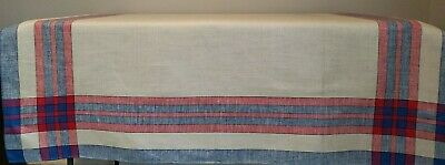 Vintage 100% Linen Tablecloth Oatmeal Red Blue Checked Border NOS