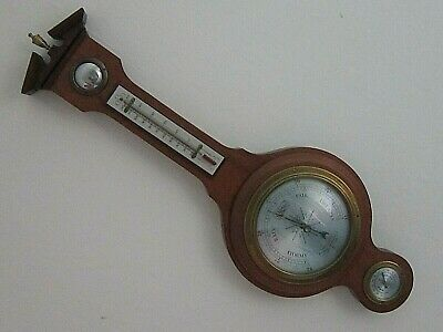 A Vintage Mahogany Comitti of London banjo barometer with hygrometer. Model B574