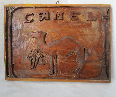 """13""""  antique embossed camel pyramid palm tree wooden hand carved plaque carving"""