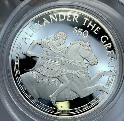 Cook Islands, $50, 1988, Cameo Proof, Alexander the Great, .6227 Ounce Silver