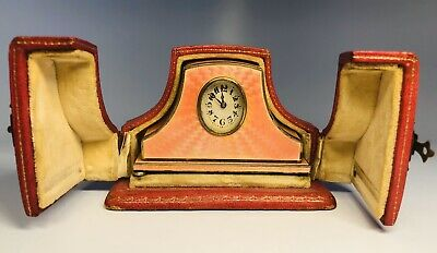Antique Circa 1900 Hass Neveux Swiss Enamel Silver Travel Clock & Original Box