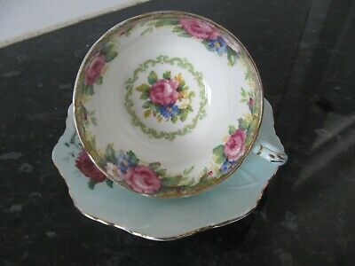 Paragon Sampler Rose Pale Blue China Cup with Miss match Paragon Saucer