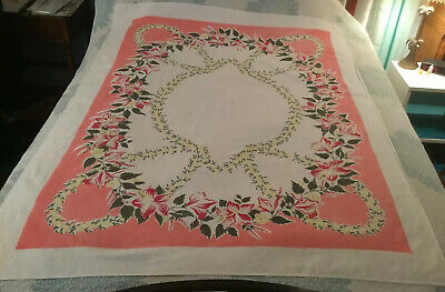 Simtex Vintage Tablecloth Cotton Pretty Pink With Red & Yellow Flowers   46 X 52