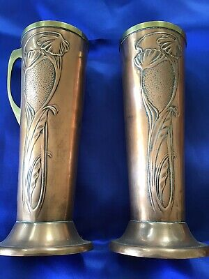 Pair Of Art Nouveau Copper And Brass Vase