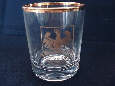 Vintage Danish Gold Rimmed and Emblem Roskilde Byrad Shot Glass