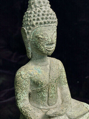 Ancient excavated bronze Lao Southeast Asian Buddha statue 16th-17th c