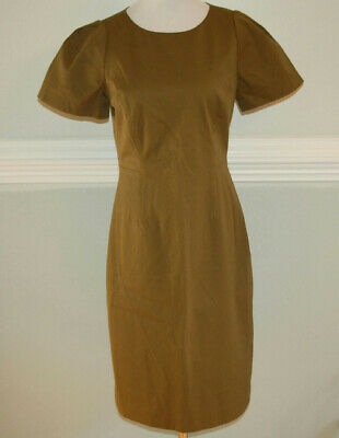 JCrew $148 Gathered-Sleeve Dress Two-Way Stretch Cotton 6 Tuscan Olive G1180 AVL