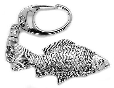 Large Carp Keyring (English Pewter Fish, DOUBLE SIDED, in a Gift Pouch)