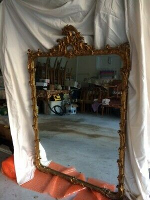 """Vintage Antique Large 52"""" Long by 35"""" Wide French Carved  Wood Gold Mirror"""