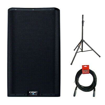"""QSC K12.2 Active 12"""" Powered 2000 Watt Loudspeaker w/ Stand & Cable"""