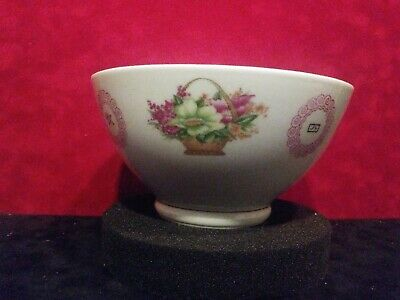 Antique Chinese Export Rice Bowl Hand Painted China Flower Basket