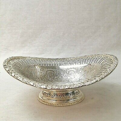 Walker and Hall Bonbon Dish Pierced Silver Plate Vintage Footed Monogrammed