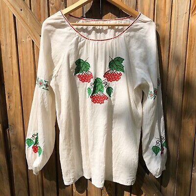 Vintage Boho Cherry Crosstitch Embroidered Cream Linen Long Sleeve Top Size M-L