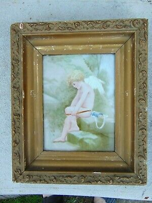 Old Framed Vintage Figural Porcelain Cherub  Angel Tile