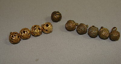 11 Antique Chinese Decorated Brass Court Robe Buttons