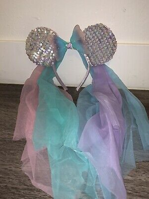 Disney Parks Minnie Mouse Sequin Ears Pastel Butterfly Veil Headband