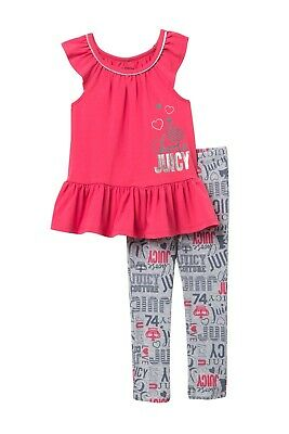 Juicy Couture KIds Girls' Top & Printed Gray Leggings 2 PC Set SZ 4 NWT $70.00